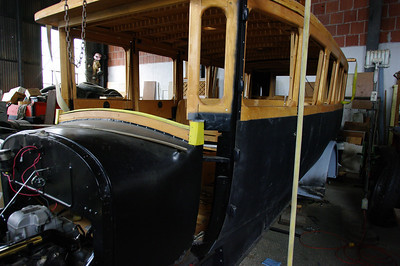 Restoring one of the old Julian stage vehicles, built on a Cadillac chassis.