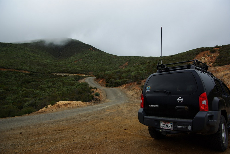 It was foggy on the drive up to the top of Los Pinos Mountain from Four Corners at Corral Canyon OHV Area, south of I-8 in eastern San Diego County.