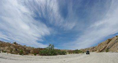 Fish eye lens makes for dramatic skies. Fish Creek Wash.
