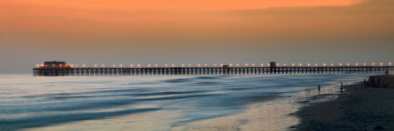 Panoramic view of the Oceanside Pier at Sunset.