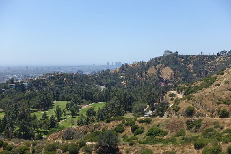 Griffith Park Observatory with Century City in distance