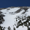 We started up the chute about 1130 and the snow was in perfect condition for the ascent.