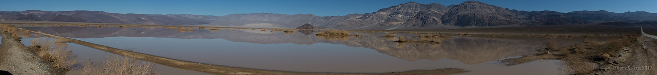 A rare sight - standing water in Panamint Valley. Panamint to the left, Death Valley to the right.