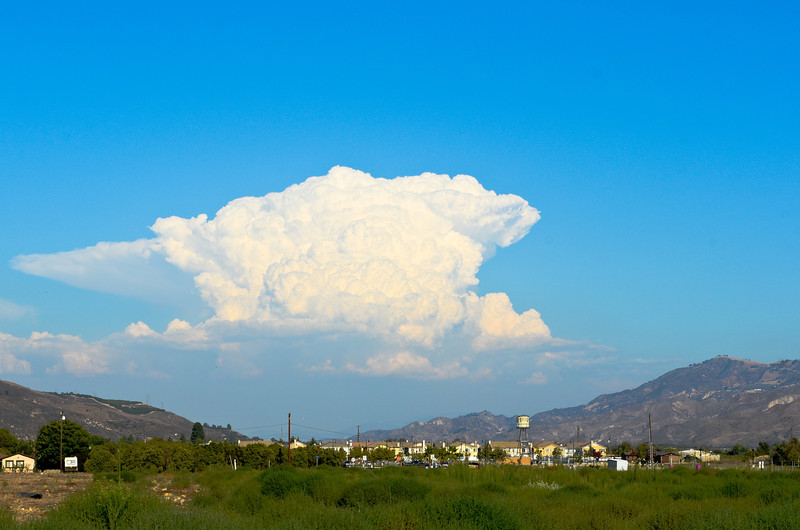 Snapshot from Rt. 126 in Fillmore, CA.  Looks like a bit of weather in Victorville area about 90 miles away straight line.