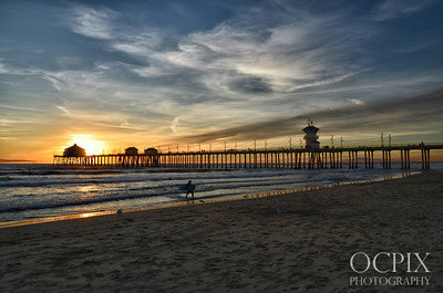 Huntington Beach sunset looking west
