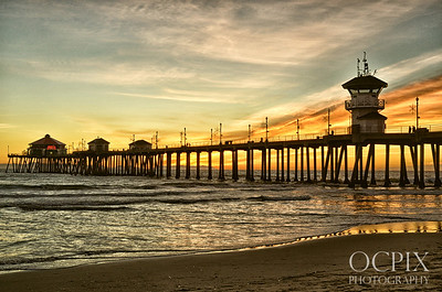 Gold sunset at Huntington Beach Pier