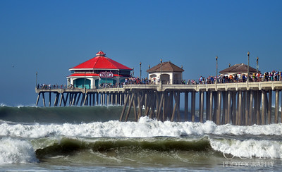 Huntington Beach Pier with big waves