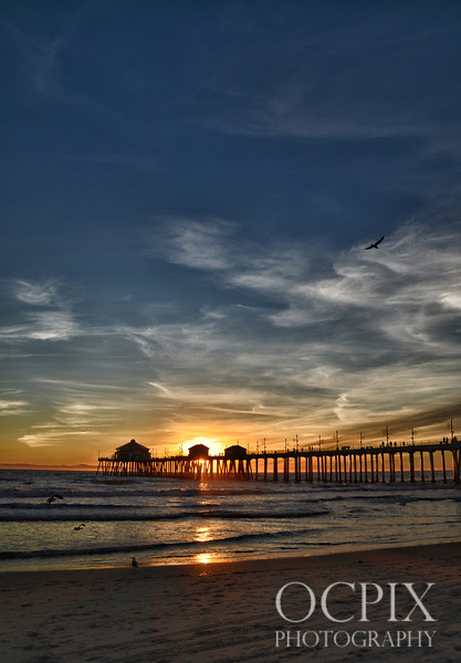 Huntington Beach Pier sunset.
