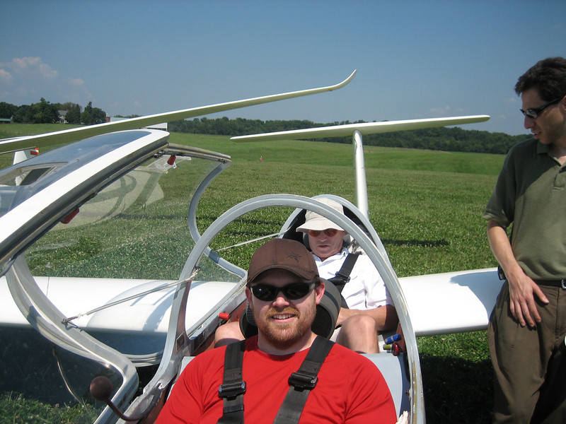 That's my instructor there in the back getting strapped in.