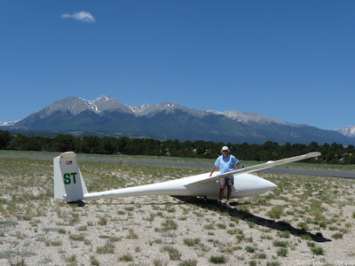 "Salida CO (KANK) waiting to launch. Mt Shavano with remnants of the ""Snow Angel"" above the tail"