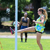 Vice President of the senior class at Fitchburg High School Gleymi Martinez, 17 in back ground, was at Doyle Field in Leominsterwith fellow soccer player and classmate Shekhinah Al-Aziz, 17, on Tuesday getting in some practice for this year soccer season. Here Al-Aziz practices getting a corner kick from Martinez. SENTINEL & ENTERPRISE/JOHN LOVE