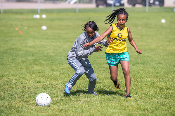 Soccer Without Borders kids summer camp at Chappelow Magnet School in Evans, Colorado.