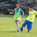 Soccer Without Borders kids summer camp at Chappelow Magnet School in Evans, Colorado on June 26, 2019.