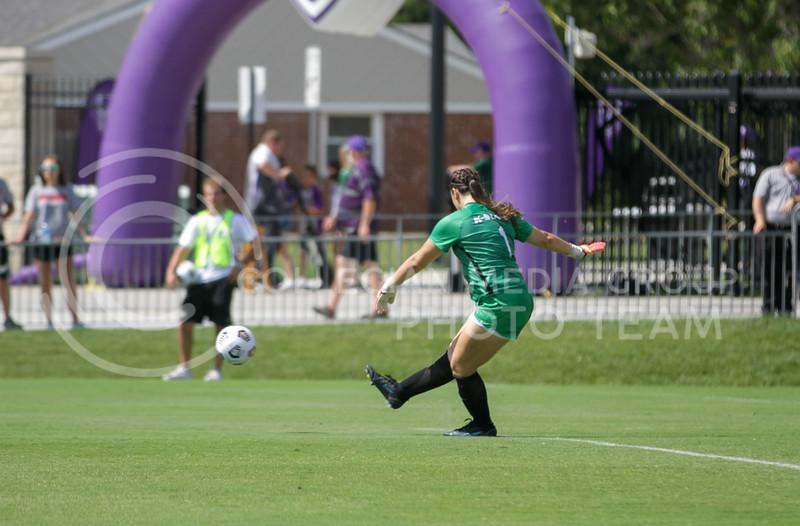 Sophomore Alaina Werremeyer kicks the ball away from the goal during the September 19, 2021 game against UTRGV at Buser Family Park. (Sophie Osborn | Collegian Media Group)