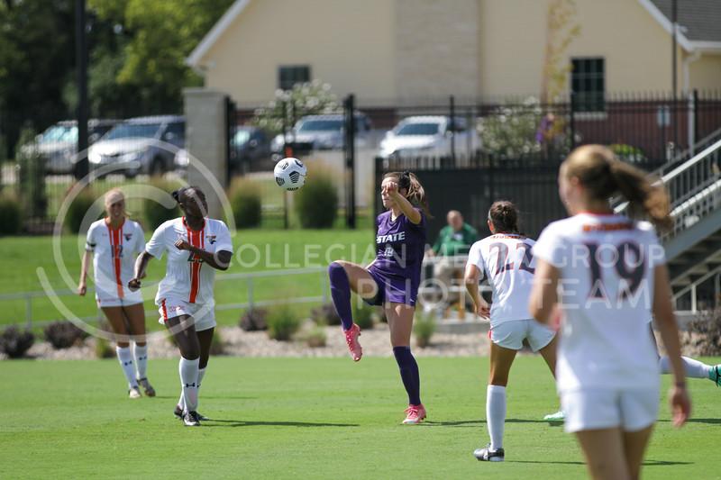 Freshman forward Riley Baker kicks the ball up during the September 19, 2021 game against UTRGV at Buser Family Park. (Sophie Osborn | Collegian Media Group)