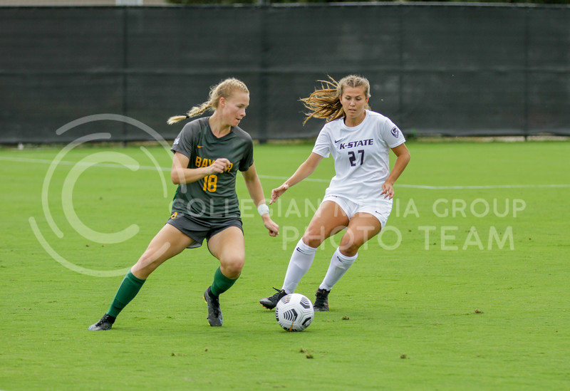 Sophomore Erin Morrissey attempts to get to the ball during the October 10, 2021 game against Baylor. (Sophie Osborn | Collegian Media Group)