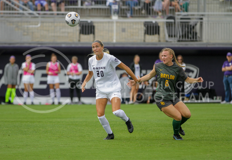 Junior Marisa Weichel fights to get to the ball during the October 10, 2021 game against Baylor. (Sophie Osborn | Collegian Media Group)