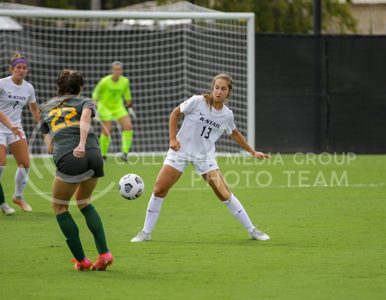 Junior Bailey Nemecheck bounces the ball of her shin during the October 10, 2021 game against Baylor. (Sophie Osborn | Collegian Media Group)