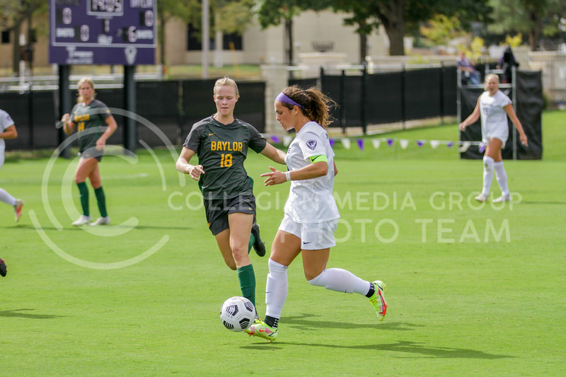 Graduate student Brooklyn Entz moves the ball past a defender during the October 10, 2021 game against Baylor. (Sophie Osborn | Collegian Media Group)