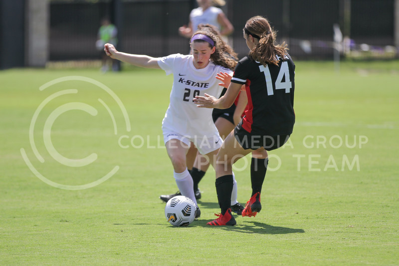 Freshman midfielder Adah Anderson fights to keep the ball during the August 22 game against Omaha at Buser Family Park. (Sophie Osborn   Collegian Media Group)