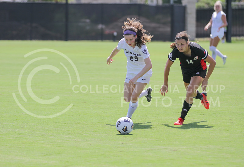 Freshman midfielder Adah Anderson moves the ball past a defender during the August 22 game against Omaha at Buser Family Park. (Sophie Osborn   Collegian Media Group)