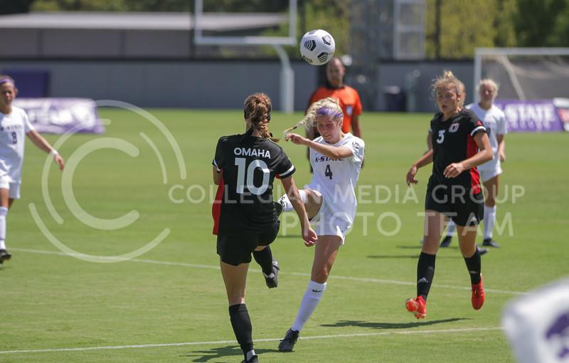 Junior defender Aliyah El-Naggar kicks the ball up during the August 22 game against Omaha at Buser Family Park. (Sophie Osborn   Collegian Media Group)