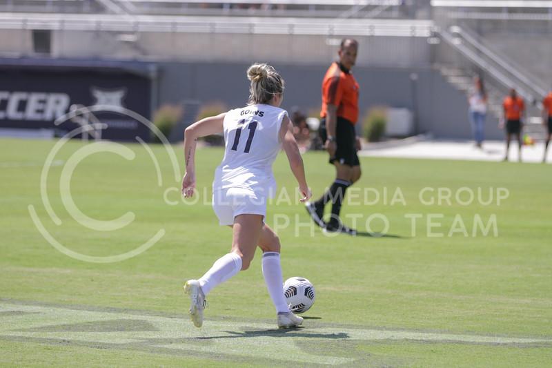 Junior forward Kyler Goins moves the ball during the August 22 game against Omaha at Buser Family Park. (Sophie Osborn   Collegian Media Group)