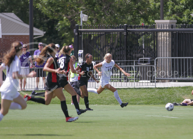 Junior forward Marisa Weichel looks to the goal during the August 22 game against Omaha at Buser Family Park. (Sophie Osborn   Collegian Media Group)