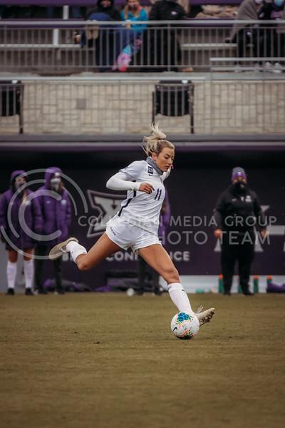 Sophomore forward Kyler Goins prepares to kick the ball during the game against Texas Christian University on Oct. 25, 2020. (Sophie Osborn | Collegian Media Group)