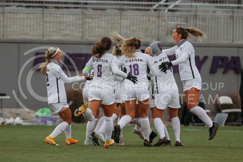 The team celebrates a goal during the game against Texas Christian University on Oct. 25, 2020. (Sophie Osborn | Collegian Media Group)