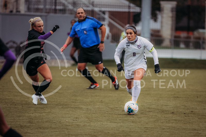 Senior midfielder Brookelynn Entz looks to teammates during the game against Texas Christian University on Oct. 25, 2020. (Sophie Osborn | Collegian Media Group)