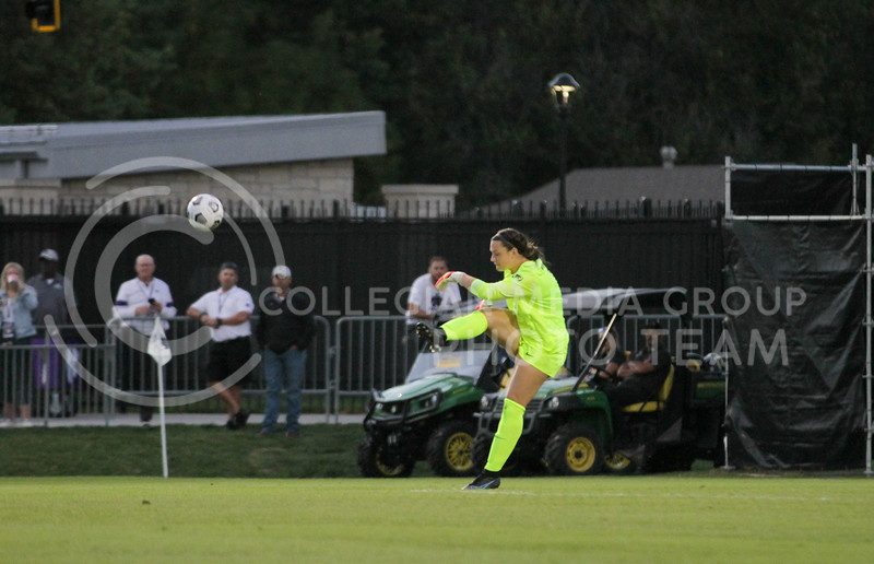 Goalkeeper kicks the ball to a teammate during the September 23, 2021 game against Texas. (Sophie Osborn | Collegian Media Group)