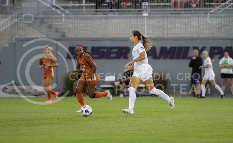 Senior defender Emily Crain moves the ball down the field during the September 23, 2021 game against Texas. (Sophie Osborn | Collegian Media Group)