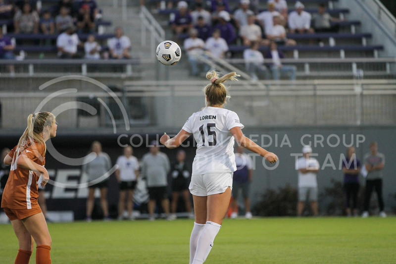 Junior Jesse Loren hits the ball of her head during the September 23, 2021 game against Texas. (Sophie Osborn | Collegian Media Group)