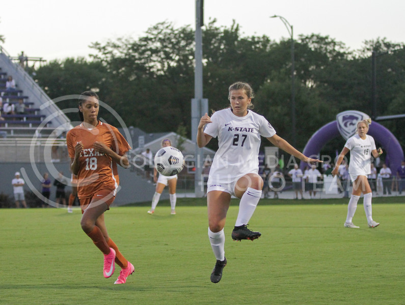 Sophomore Erin Morrissey kicks the ball up in the air during the September 23, 2021 game against Texas. (Sophie Osborn | Collegian Media Group)