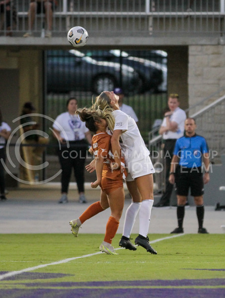 Junior Jesse Loren fights for the ball during the September 23, 2021 game against Texas. (Sophie Osborn | Collegian Media Group)