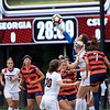 Cal. State goalkeeper Jennifer Stuart (1) catches the ball during the Bulldogs' game with Cal. State Fullerton at the Turner Soccer Complex in Athens, Ga., on Sunday, Aug. 28, 2016. (Photo by David Barnes)
