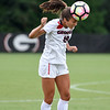Georgia midfielder/defender Stephanie Krouskos (19) hits a header during the Bulldogs' game with Cal. State Fullerton at the Turner Soccer Complex in Athens, Ga., on Sunday, Aug. 28, 2016. (Photo by David Barnes)