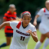 Georgia defender Summer Burnett (11) runs for the ball during the Bulldogs' game with Cal. State Fullerton at the Turner Soccer Complex in Athens, Ga., on Sunday, Aug. 28, 2016. (Photo by David Barnes)