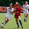 Georgia forward Lauren Tanner (3) kicks the ball during the Bulldogs' game with Cal. State Fullerton at the Turner Soccer Complex in Athens, Ga., on Sunday, Aug. 28, 2016. (Photo by David Barnes)
