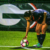 Georgia defender Mariel Gutierrez (4) sets up for a corner kick during the Bulldogs' game with Oklahoma State at Turner Soccer Complex in Athens, Ga., on Friday, Aug. 19, 2016. (Photo by John Paul Van Wert)
