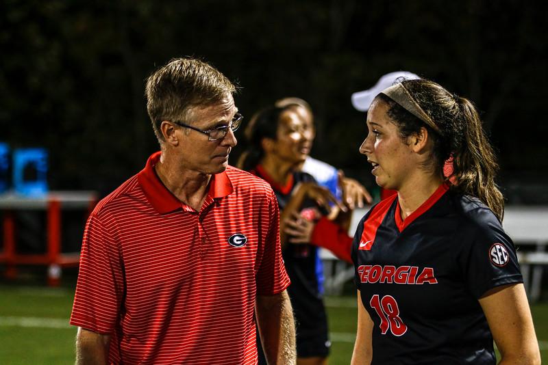 Georgia head coach Billy Lesesne and Georgia defender Natalie Goodman (18) - UGA Soccer -   (Photo by John Paul Van Wert/Georgia Sports Communication)