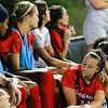 The Georgia soccer team converses on the sideline during the Bulldogs' game with Samford at Turner Soccer Complex in Athens, Ga., on Friday, Aug. 26, 2016. (Photo by John Paul Van Wert)