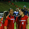 Georgia forward Marion Crowder (2), defender Bria Washington (7), and defender Mariel Gutierrez (4) celebrate a win during the Bulldogs' game with Samford at Turner Soccer Complex in Athens, Ga., on Friday, Aug. 26, 2016. (Photo by John Paul Van Wert)
