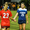 Members of the Georgia and Samford soccer teams shake hands during the Bulldogs' game with Samford at Turner Soccer Complex in Athens, Ga., on Friday, Aug. 26, 2016. (Photo by John Paul Van Wert)