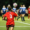 Georgia forward Lauren Tanner (3) takes a corner kick during the Bulldogs' game with Samford at Turner Soccer Complex in Athens, Ga., on Friday, Aug. 26, 2016. (Photo by John Paul Van Wert)