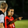 Georgia defender Mariel Gutierrez (4) talks with Georgia head coach Billy Lesesne during the Bulldogs' game with Samford at Turner Soccer Complex in Athens, Ga., on Friday, Aug. 26, 2016. (Photo by John Paul Van Wert)