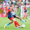 Megan Oyster goes one on one against Sky Blue forward Tasha Kai.  Oyster cleared the ball away from Sky Blue.