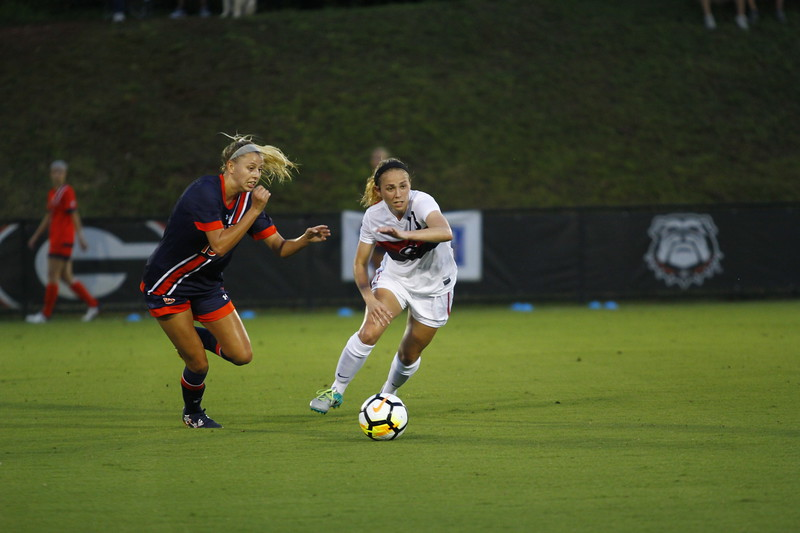 Georgia forward Mollie Belisle (12) during the Georgia vs. Auburn match at the Turner Soccer Complex in Athens, Ga. on Thursday, August 10, 2017.  (Photo: Steffenie Burns/Georgia Sports Communication)