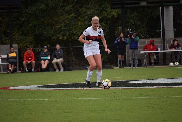 Georgia midfielder Ashley Andersen (21) during the Bulldogs' game against Coastal Carolina at Turner Soccer Complex in Athens, Ga., on Sunday, Sept 10, 2017.  (Photo by Rose Engel / Georgia Sports Communication)